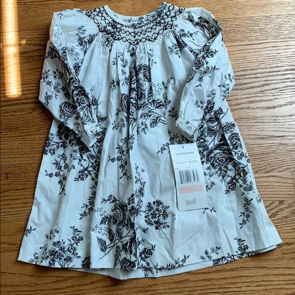 Rare Editions Black/White Smocked Dress